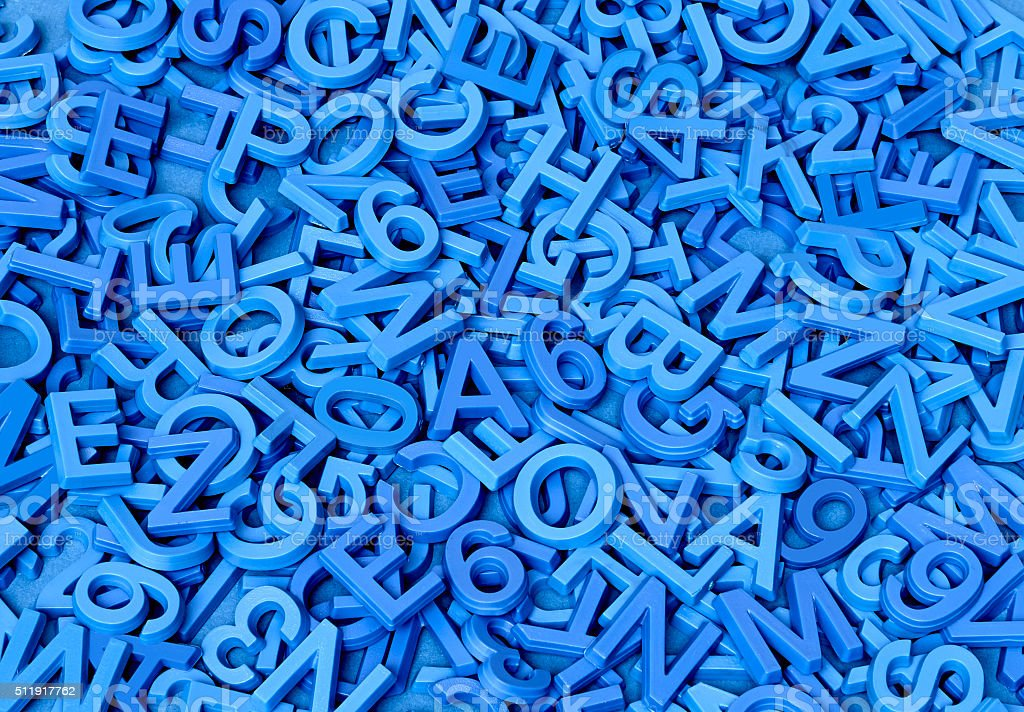 Blue Letters on Blue stock photo