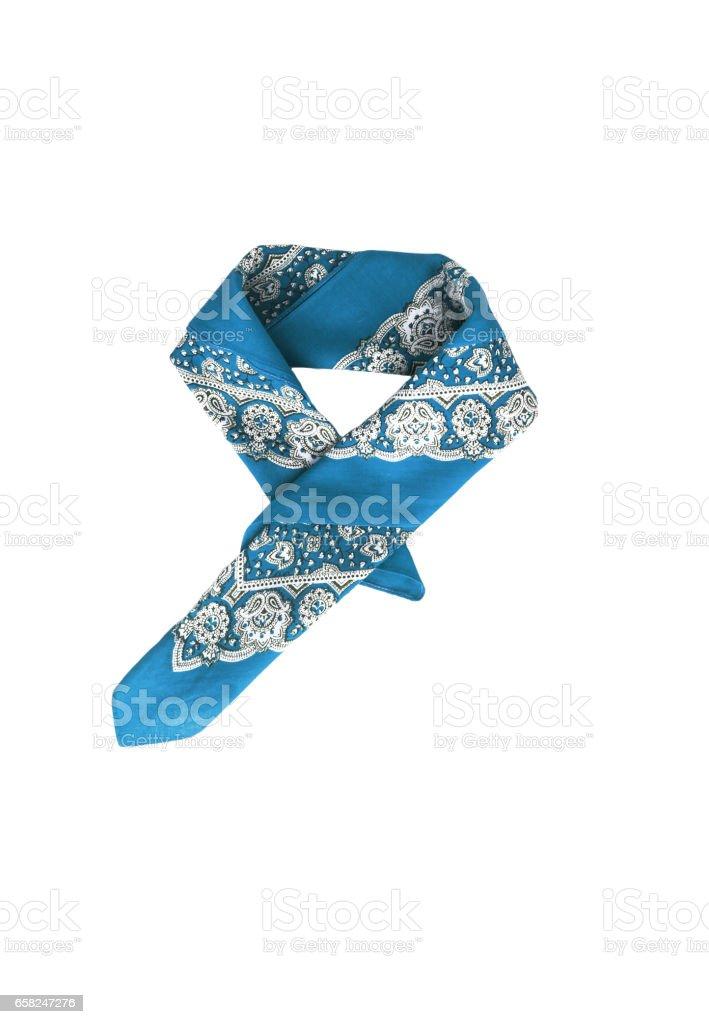 Blue, light blue kerchief-bandana with a pattern, isolated stock photo