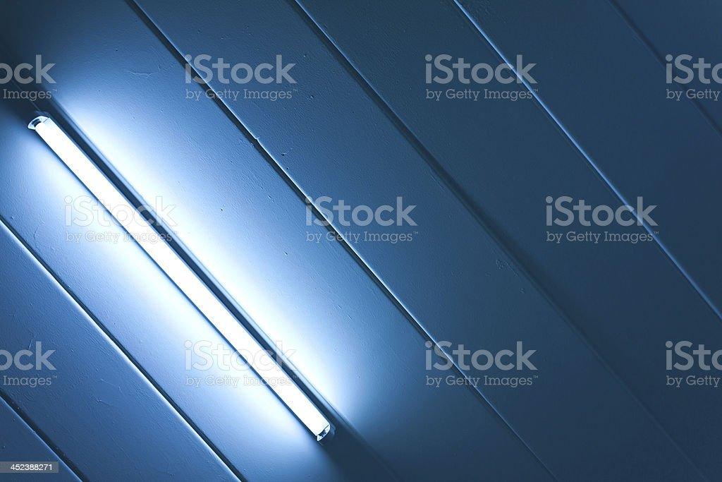 Blue light fluorescent of lamp stock photo