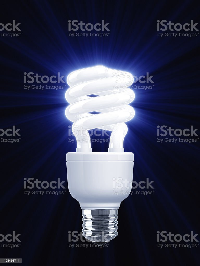 Blue Light of Compact Fluorescent LightBulb (On Black) stock photo