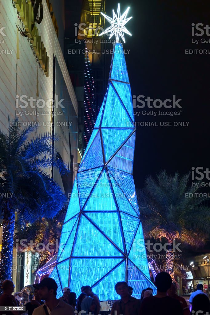 Blue Lighting Christmas Tree, Front of Siam Paragon shopping mall stock photo