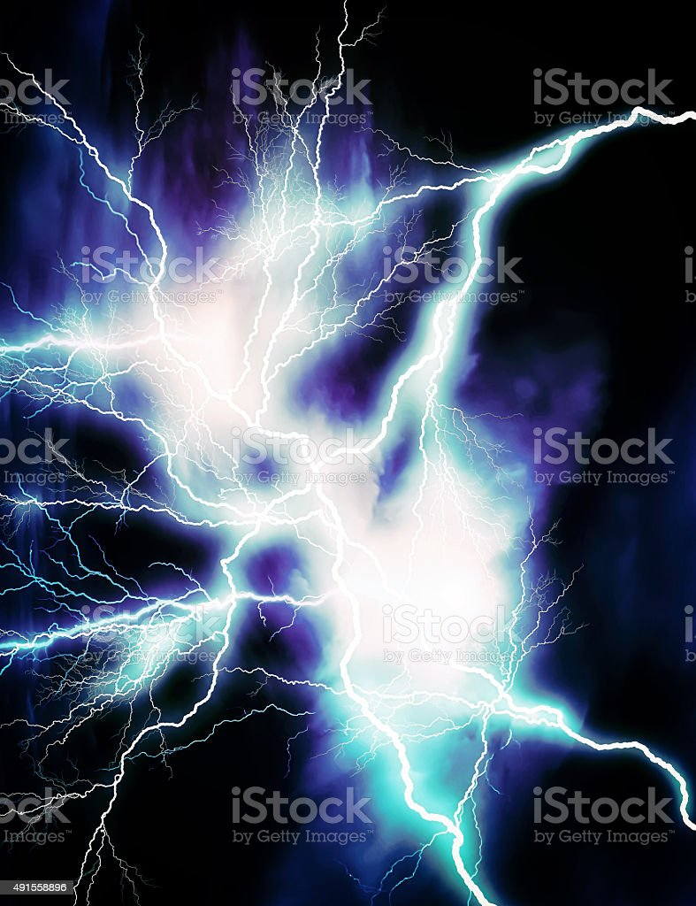 Blue lightning vector art illustration