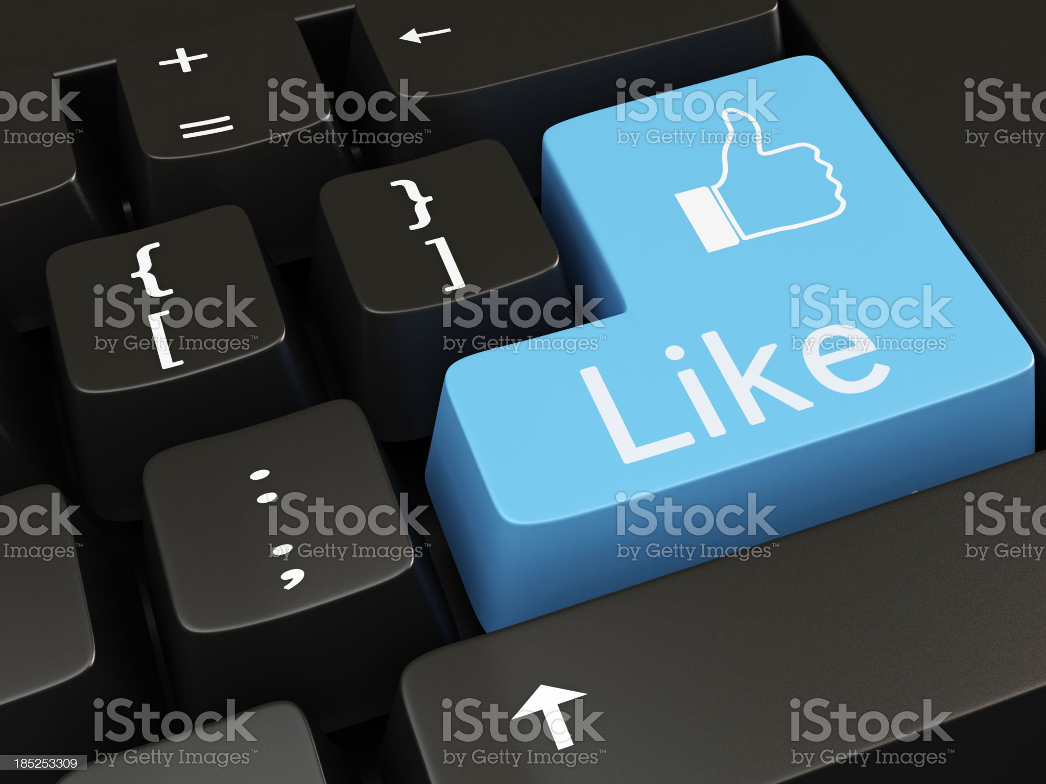 A blue like button on the computers keyboard royalty-free stock photo