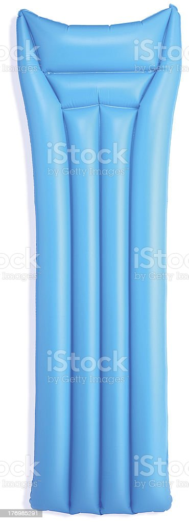 blue lilo isolated on white with clipping path royalty-free stock photo