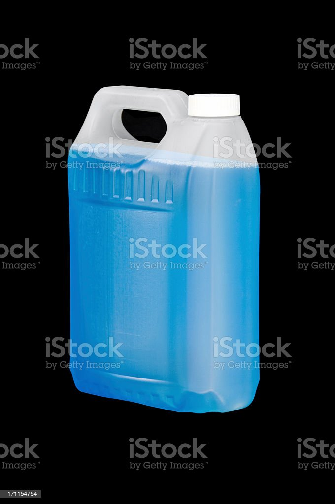 Blue Liquid Container on Black royalty-free stock photo