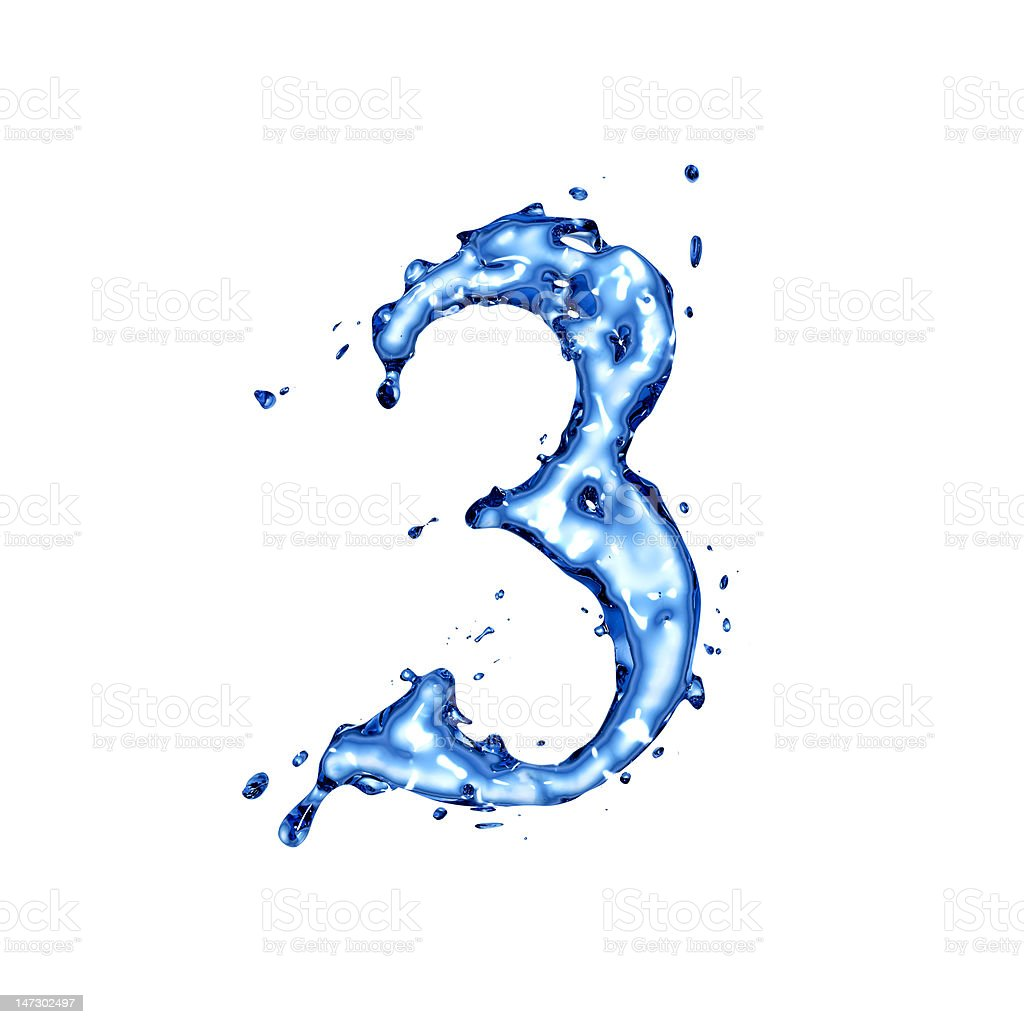 Blue liquid water digit 3 royalty-free stock photo