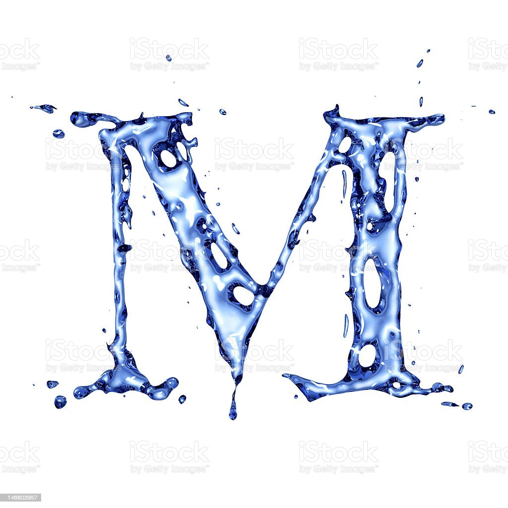Blue liquid water letter M stock photo