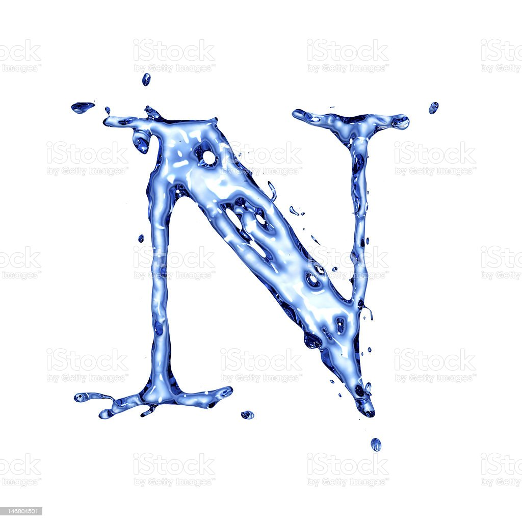 Blue liquid water letter N royalty-free stock photo