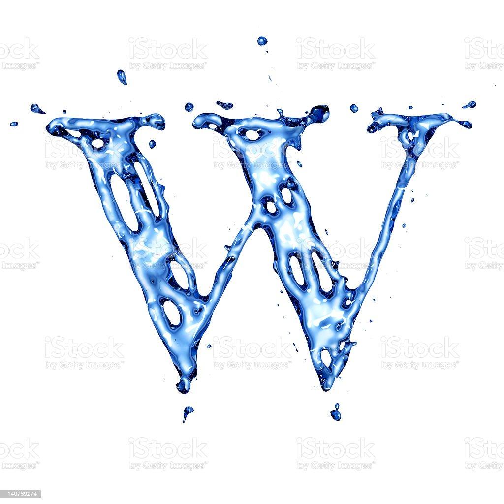 Blue liquid water letter W stock photo