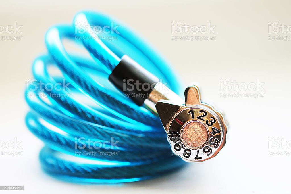 Blue lock for bike or luggage stock photo