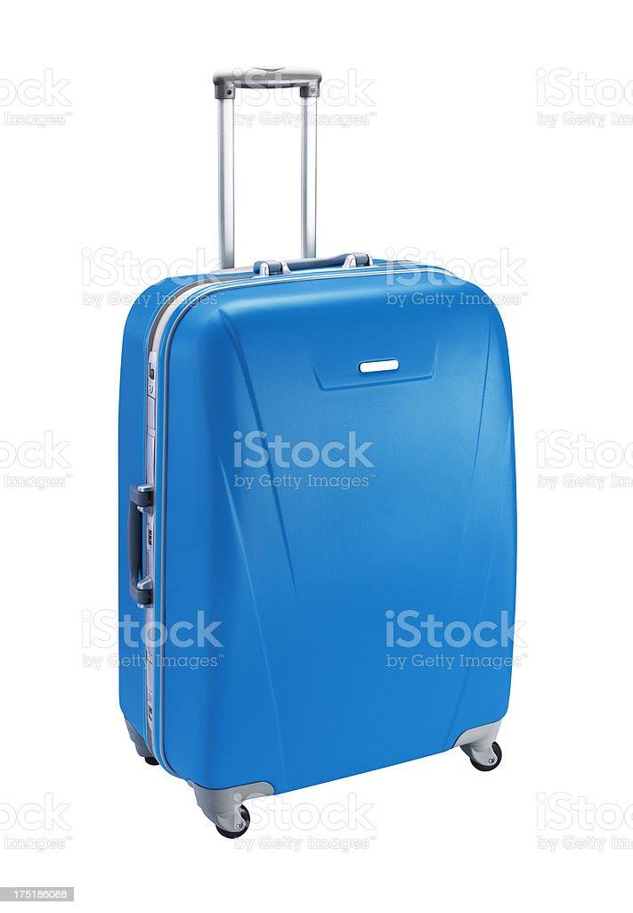 Blue lone suitcase on white background stock photo