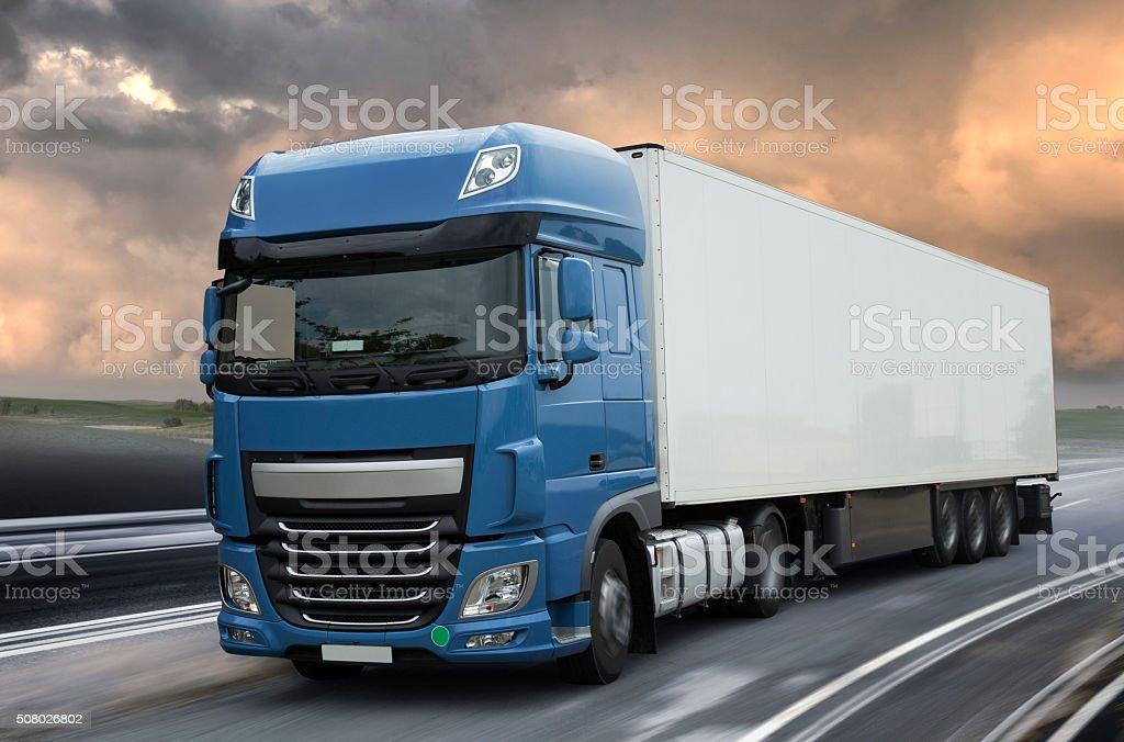 Blue Lorry big truck stock photo