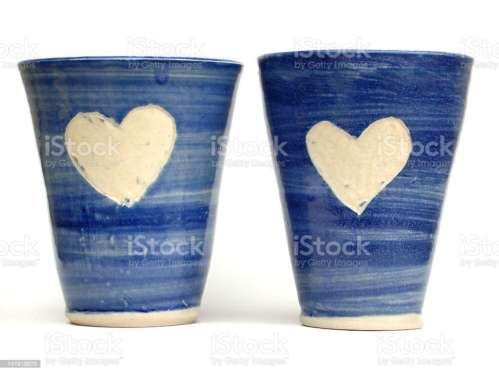 Blue love mugs royalty-free stock photo