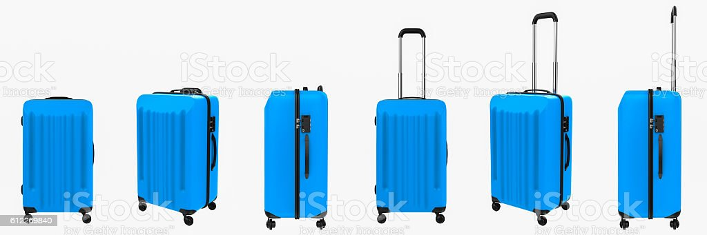 blue luggages in a row stock photo