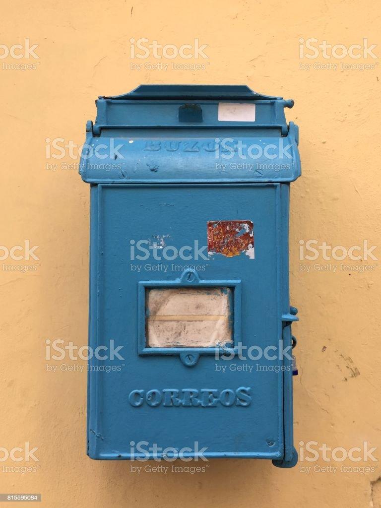 Blue mailbox in Cuba stock photo