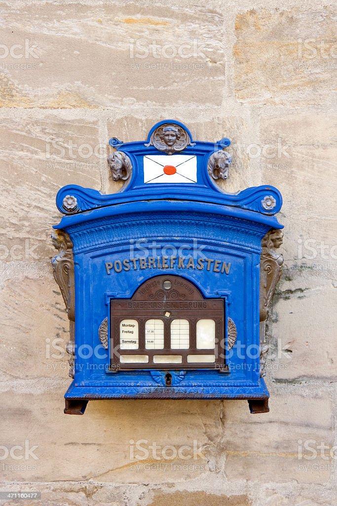 Blue mailbox royalty-free stock photo