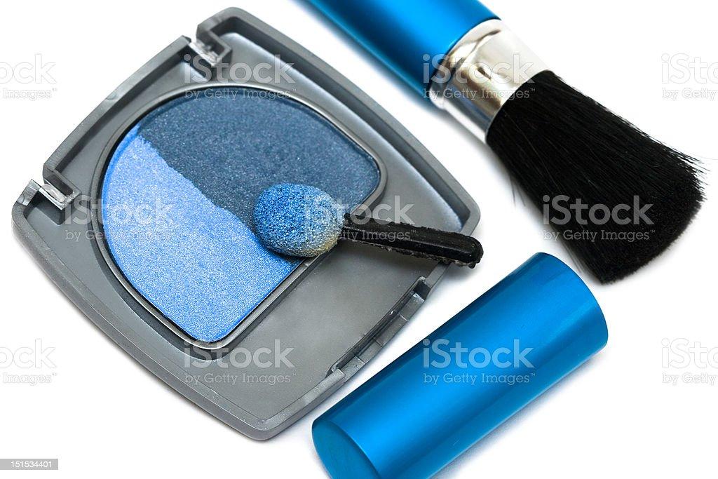 Azul Maquiagem Pincel e cosmético eyeshadows foto de stock royalty-free
