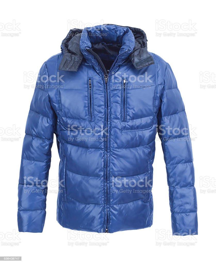 Blue male winter jacket isolated stock photo