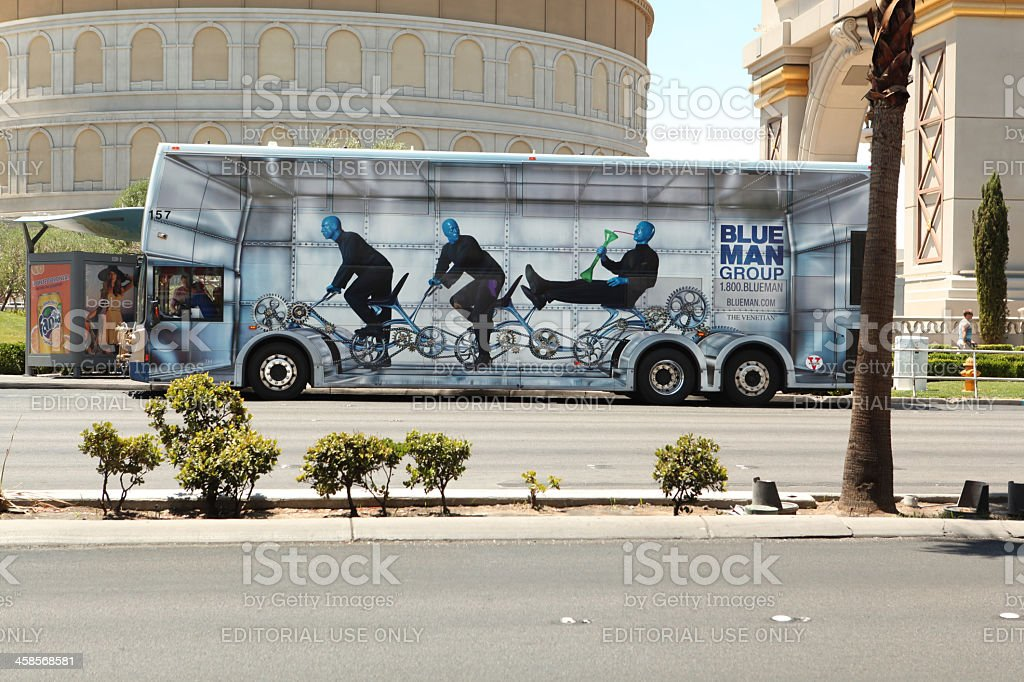 Blue Man group Bus stock photo