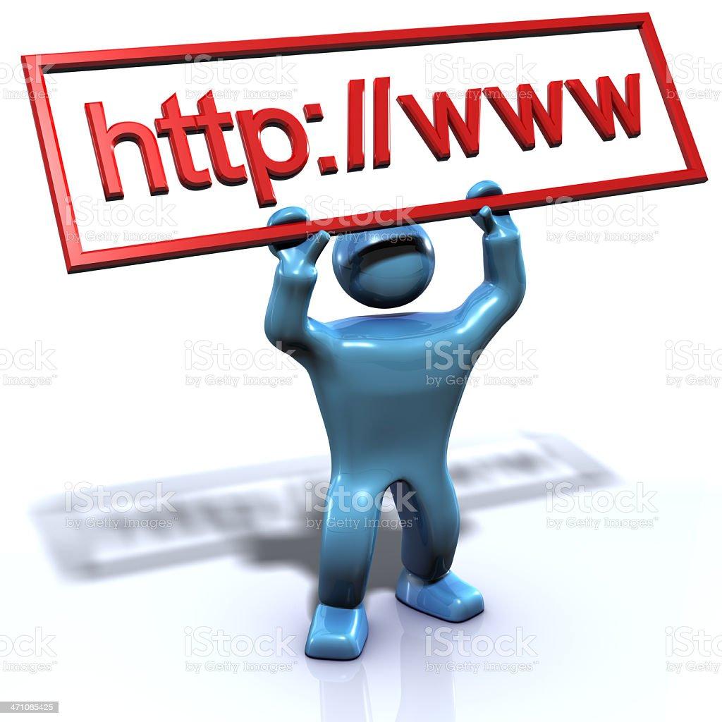 Blue man, HTTP WWW stock photo