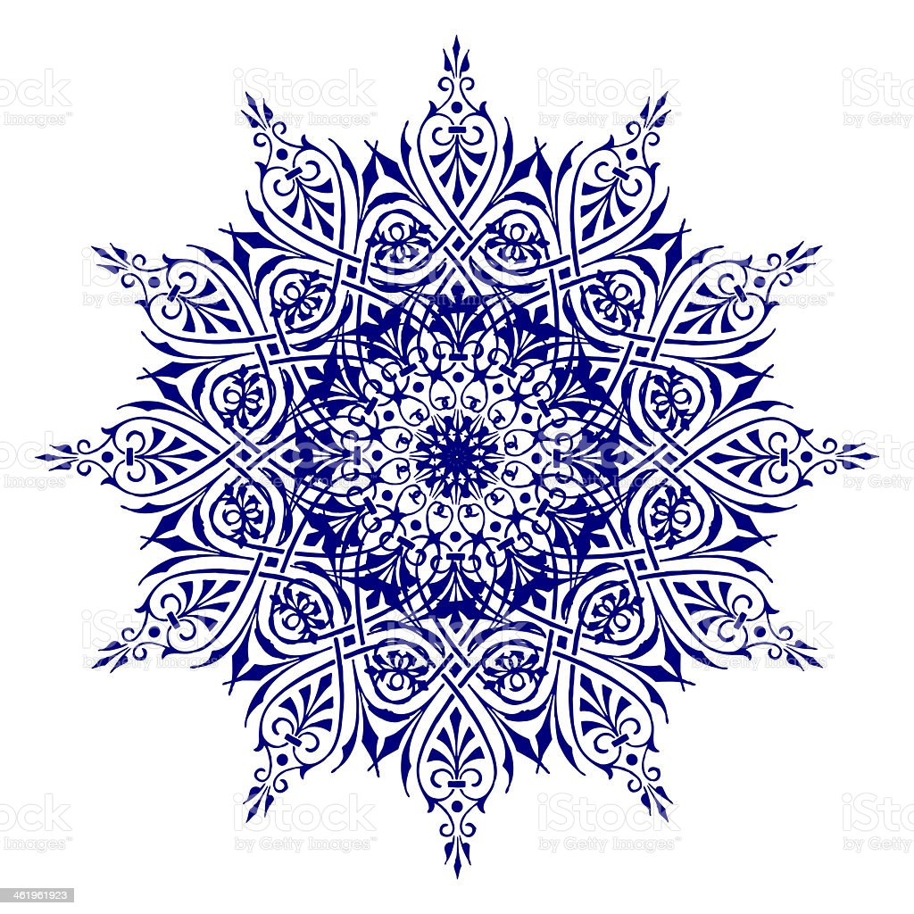 Blue mandala drawn with ink on white paper stock photo
