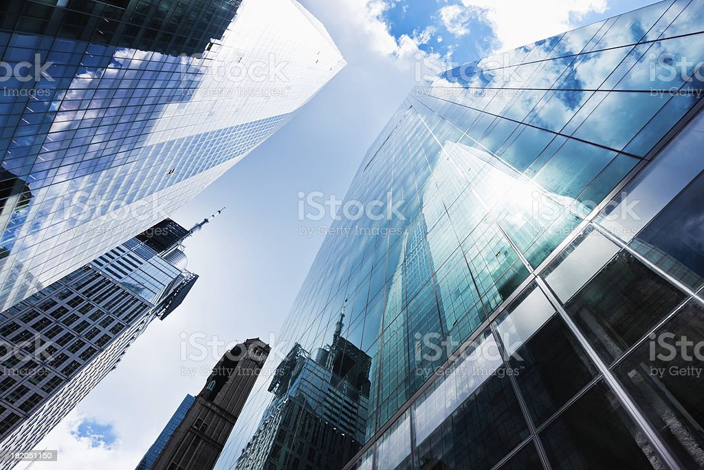Blue Manhattan Skyscapers Wall Street Financial District New Yor stock photo