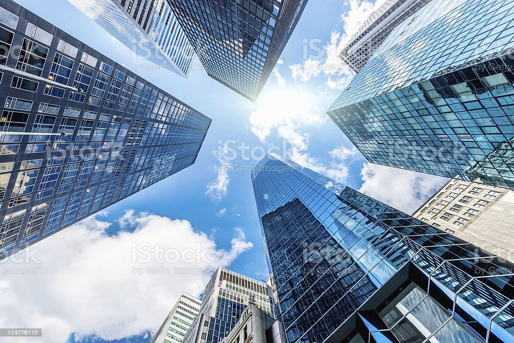 Blue Manhattan Skyscapers Wall Street New York City stock photo