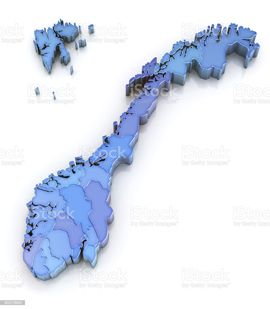 Blue map of Norway with counties 3d on white stock photo