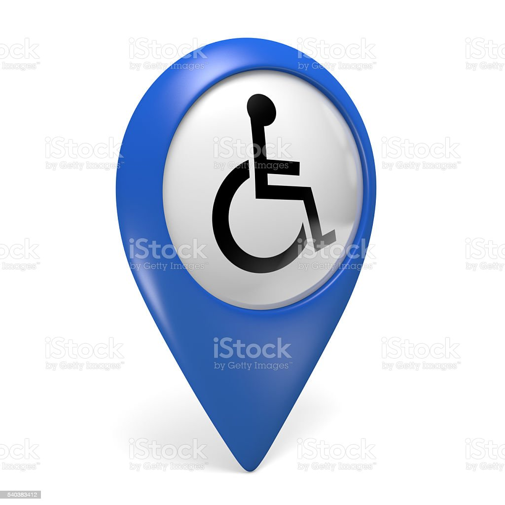 Blue map pointer icon with wheelchair symbol for handicapped persons stock photo