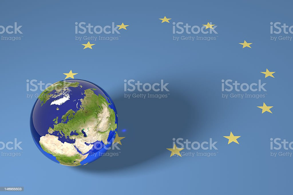 Blue Marble and EU flag royalty-free stock photo