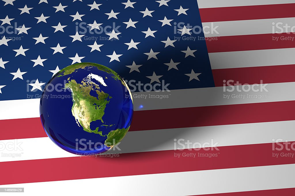 Blue marble and US flag royalty-free stock photo