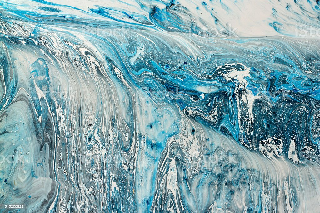 Blue marbling texture. Creative background with abstract oil painted waves stock photo