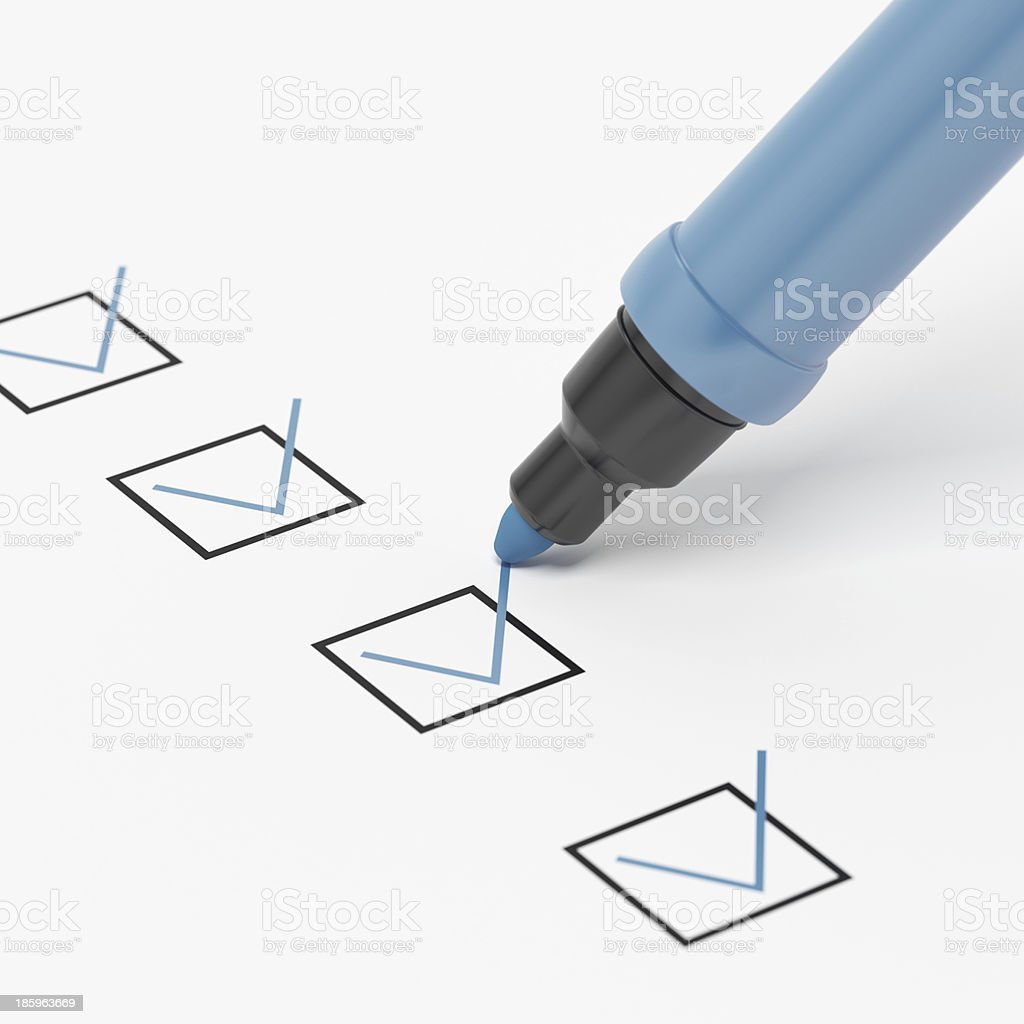 Blue Marker with Checkbox and Check. stock photo