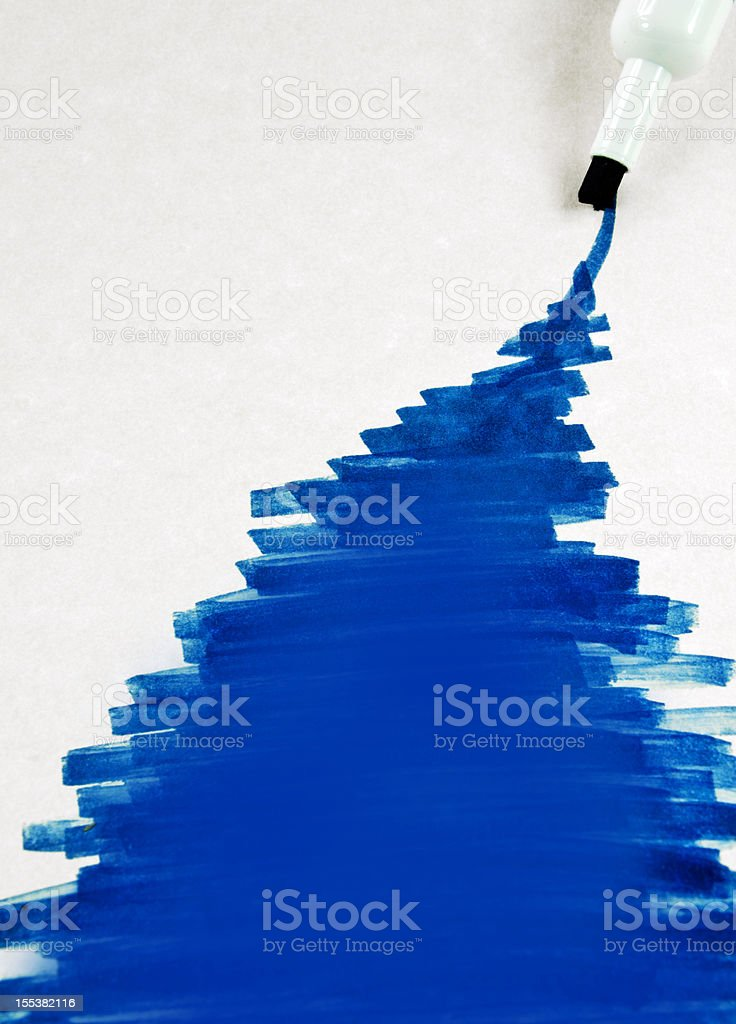 Blue Marking Pen and Making royalty-free stock photo
