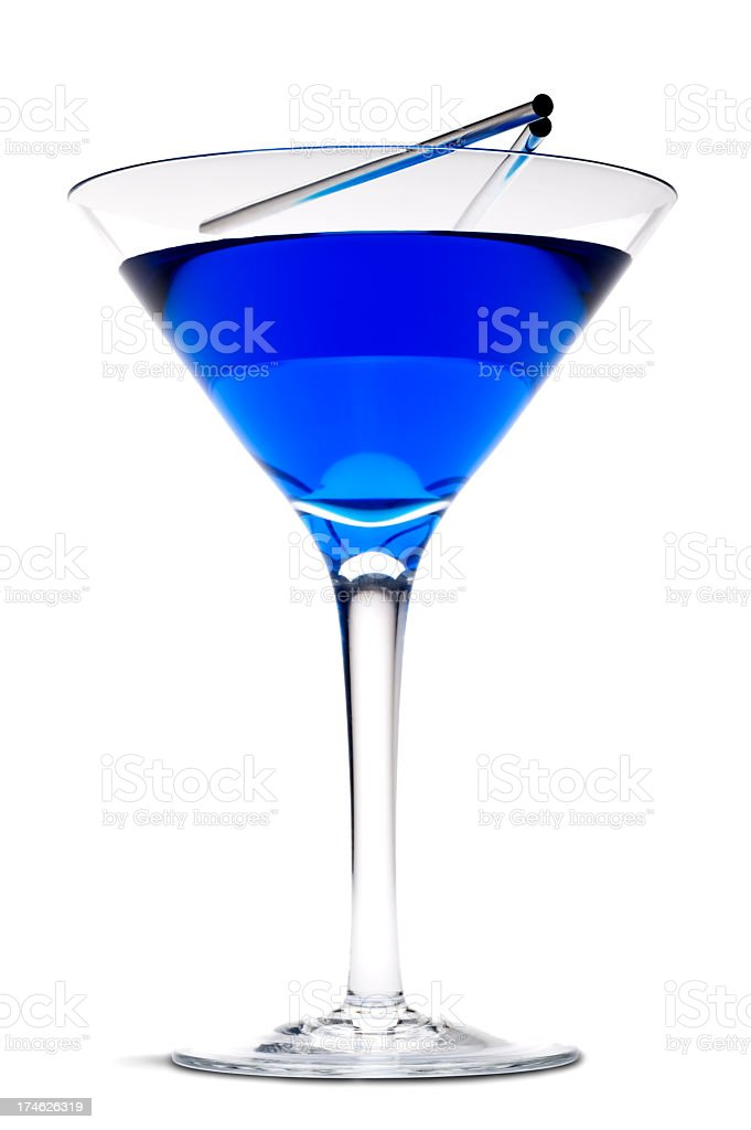 Blue Martini and Straws royalty-free stock photo