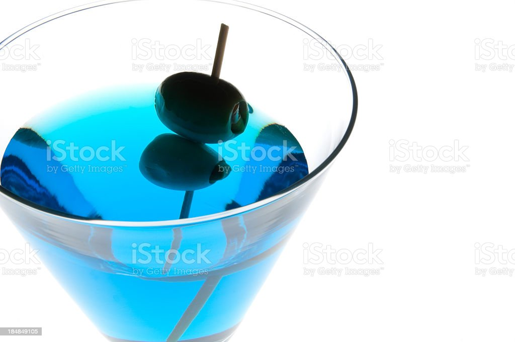 Blue Martini with two Olives royalty-free stock photo