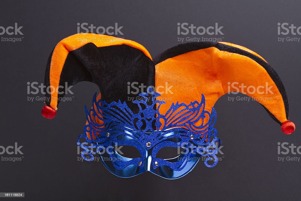 Blue Mask With jester hat stock photo