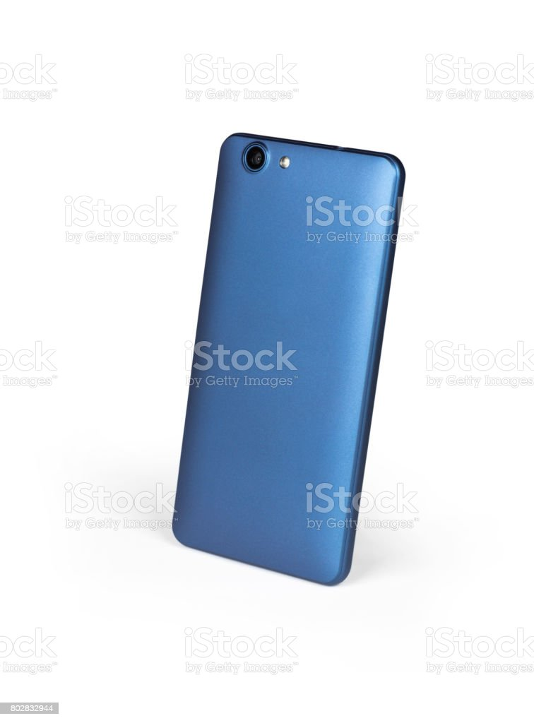 Blue mat mobile smart phone standing on white background viewed from back side. Isolated with clipping path stock photo