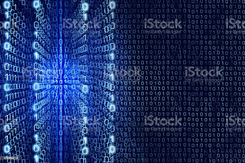 Blue Matrix Abstract - binary code Digital background stock photo