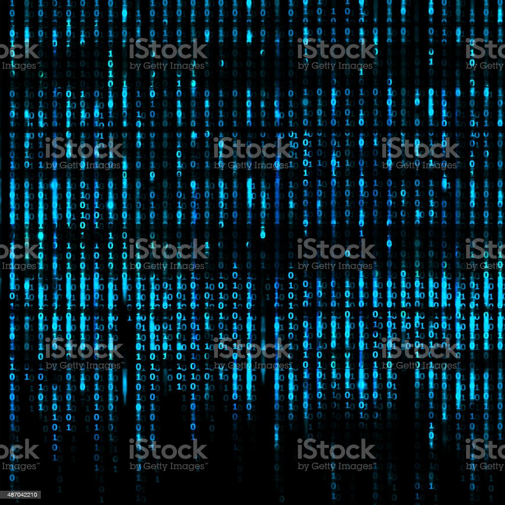 Blue Matrix Abstract - binary code screen background stock photo
