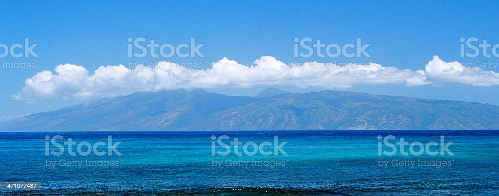 Blue Maui Molokai Hawaii Pacific ocean panorama stock photo