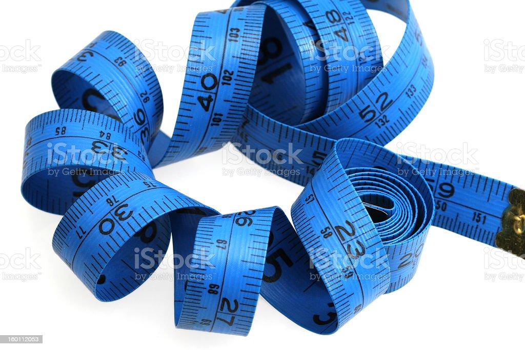 Blue measure tape stock photo