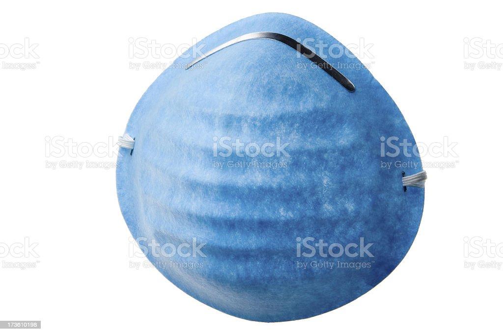 Blue medical mask on white background stock photo