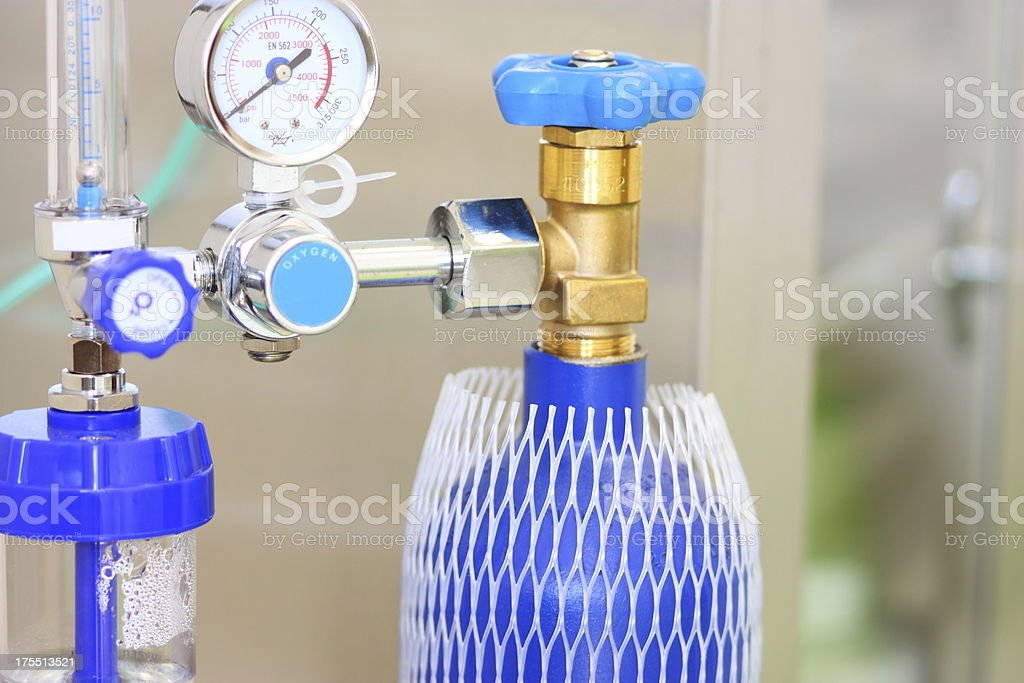 A blue medical oxygen concentrator stock photo