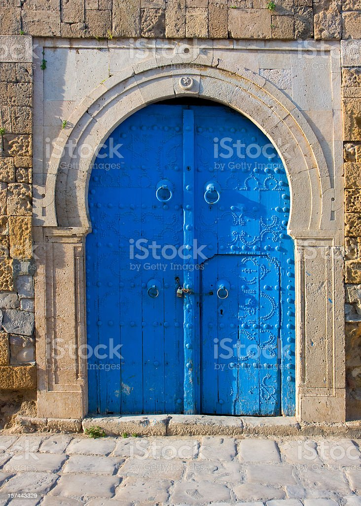 blue mediterranean house entrance royalty-free stock photo