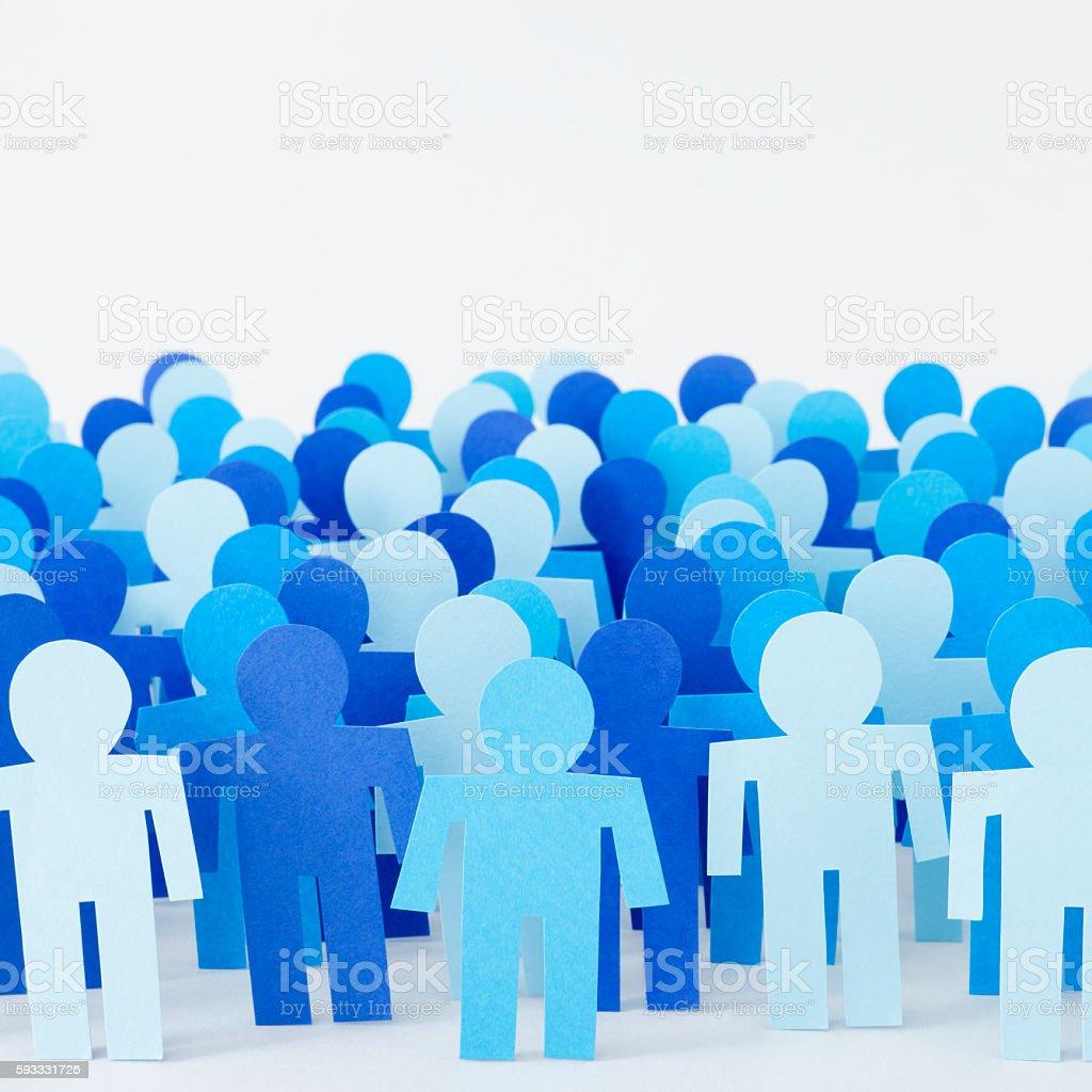 Blue men crowd stock photo