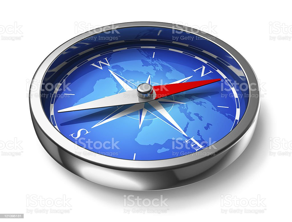 Blue metal compass stock photo