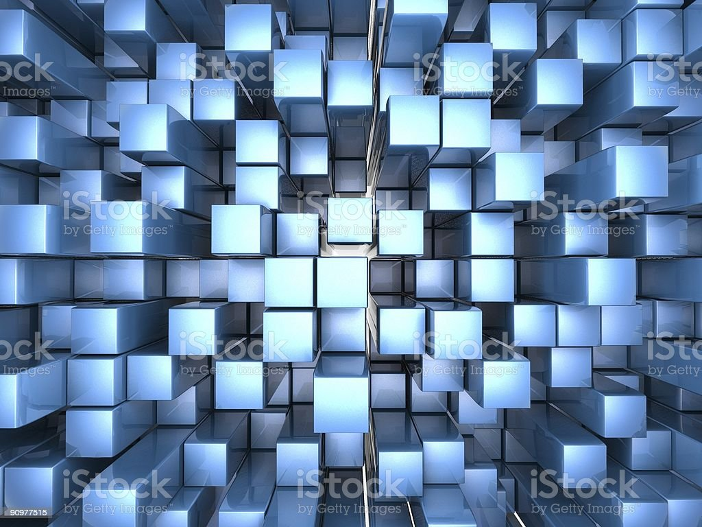 Blue metal cubes royalty-free stock photo
