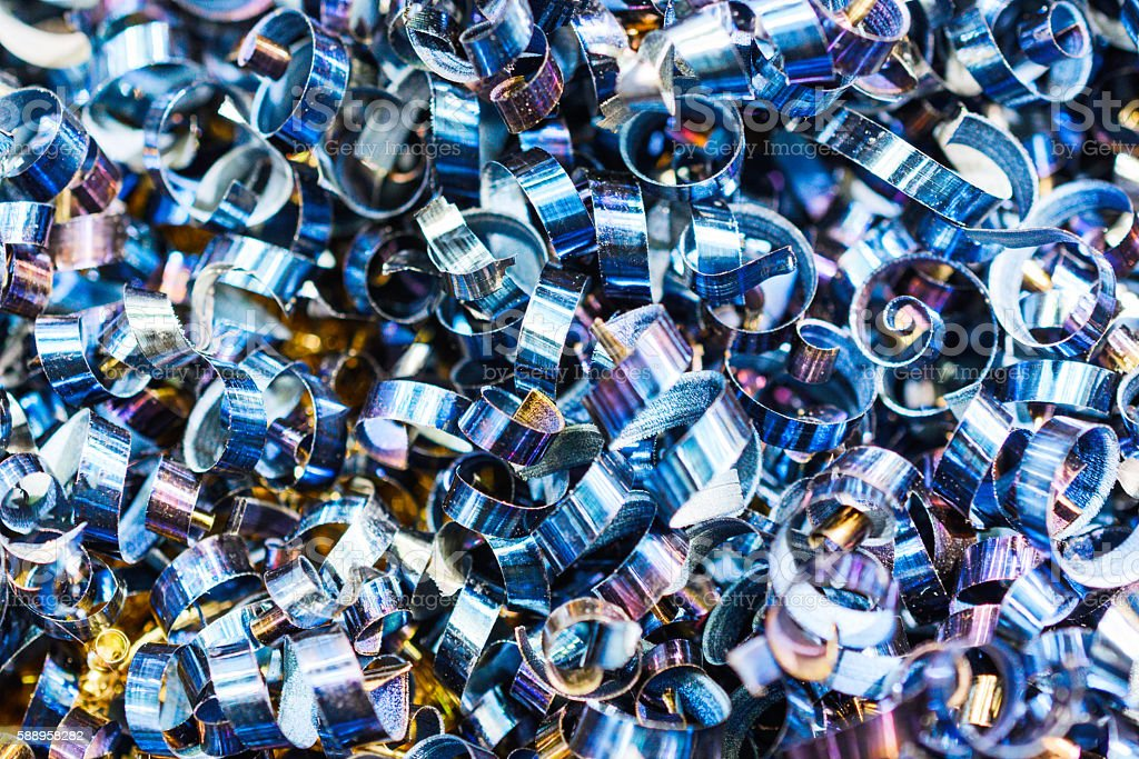 Blue metal shavings. Industrial abstract background. stock photo