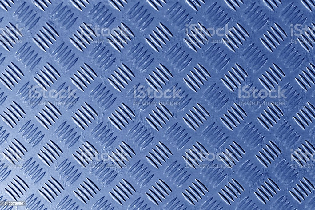 Blue metal textured floor surface. stock photo